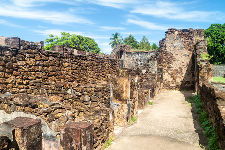 Ruins of former penal colony at Ile Royale, one of the islands of Iles du Salut (Islands of Salvation) in French Guiana