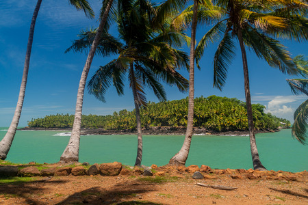 View of Ile Saint Joseph island from Ile Royale in archipelago of Iles du Salut (Islands of Salvation) in French Guiana