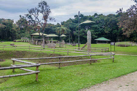 Ancient statues in archeological park in San Agustin, Colombia Stock Photo