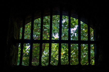 View from a former prison at Ile Royale, one of the islands of Iles du Salut (Islands of Salvation) in French Guiana.