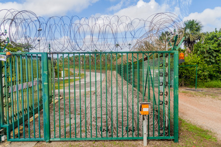 wired: Security fence at Centre Spatial Guyanais (Guiana Space Centre) in Kourou, French Guiana
