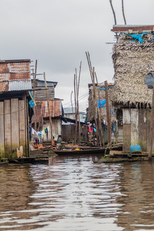 View of floating shantytown in Belen neigbohood of Iquitos, Peru. Stock Photo