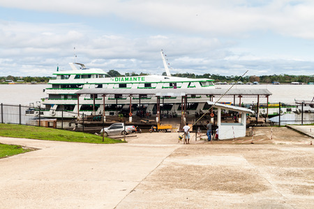 TABATINGA, BRAZIL - JUNE 22, 2015: Boat Diamante plies river Amazon between Tabatinga and Manaus, Brazil.