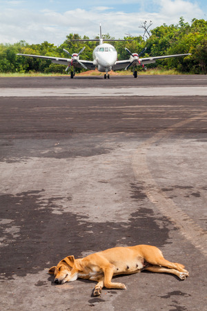 airstrip: CANAIMA, VENEZUELA - AUGUST 16, 2015:  BAe-3212 Jetstream Super 31 at the airstrip in Canaima village, Venezuela Stock Photo