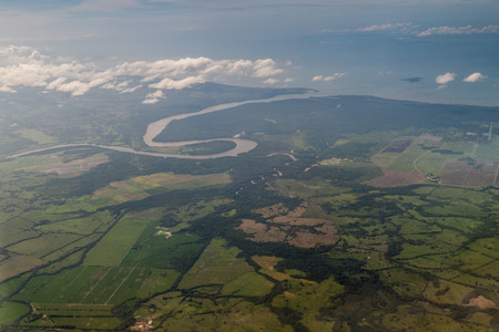 river view: Aerial view of river Chepo mouth, souther coast of Panama