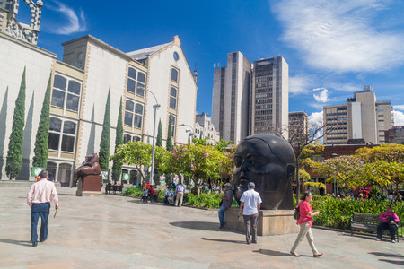 MEDELLIN, COLOMBIA - SEPTEMBER 1, 2015: Plazoleta de las Esculturas (Square of the Statues) in Medellin. Statues were designed by artist Fernando Botero.