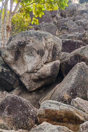 Figure carved in a rock located at El Chaquira site near San Agustin, Colombia Stock Photo