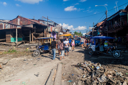 IQUITOS, PERU - JULY 19, 2015: Surroundings of Bellavista Nanay port in Iquitos, Peru