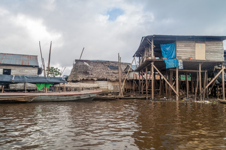 View of partially floating shantytown in Belen neigbohood of Iquitos, Peru. Stock Photo