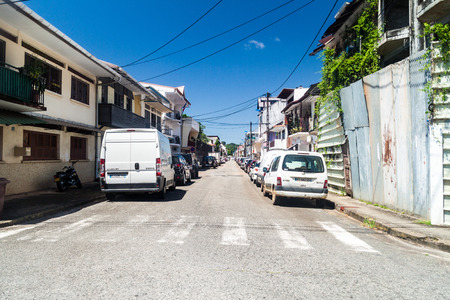 CAYENNE, FRENCH GUIANA - AUGUST 3, 2015: View of a street in the center of Cayenne, capital of French Guiana.