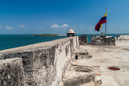 Fuerte de San Fernando fortress on Tierrabomba island near Cartagna, Colombia. Bateria de San Jose fort in the background. Imagens
