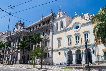 SAO PAULO, BRAZIL - FEBRUARY 3, 2015: Law Faculty building and Sao Francisco church in Sao Paulo, Brazil