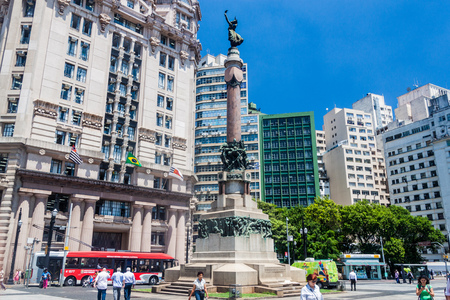 SAO PAULO, BRAZIL - FEBRUARY 3, 2015: Monument for the foundation of Sao Paulo. Editorial