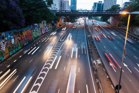 SAO PAULO, BRAZIL - FEBRUARY 2, 2015: Traffic on Corredor Norte-Sul  in Sao Paulo, Brazil Editorial
