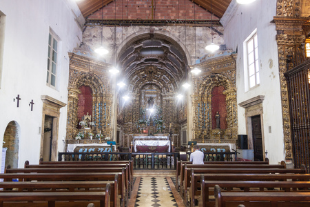 RIO DE JANEIRO, BRAZIL - JANUARY 28, 2015: Inerior of a church in Santo Antonio convent in Rio de Janeiro.