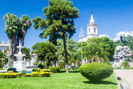 corrientes: Plaza 25 de Mayo square with general San Martin statue in Corrientes, Argentina