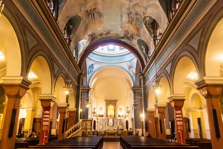 MONTEVIDEO, URUGUAY - FEB 19, 2015: Interior of Parroquia Nuestra Senora del Carmen church in Montevideo, Uruguay.