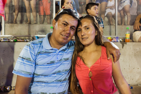 ENCARNACION, PARAGUAY - FEB 7, 2015: Spectators at the traditional carnival in Encarnacion, Paraguay.