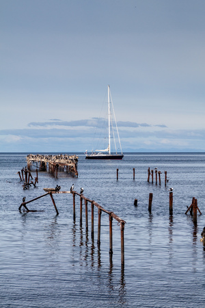 Pier in Punta Arenas, Chile Stock Photo