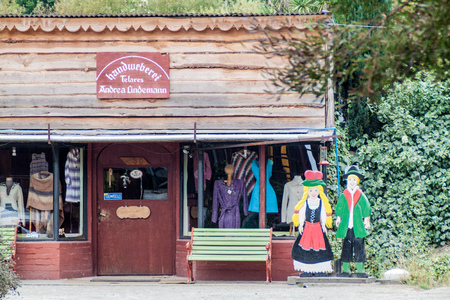 FRUTILLAR, CHILE - MARCH 1, 2015: German style clothes store in Frutillar village. The region is known for a strong population of german immigrants.