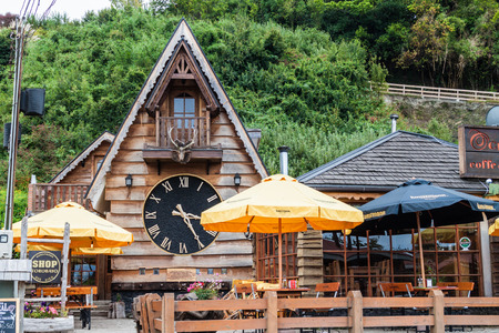 FRUTILLAR, CHILE - MARCH 1, 2015: Restaurant in Alp style in Frutillar village. The region is known for strong population of german immigrants.