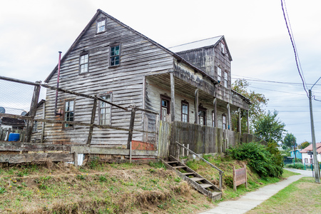 Old wooden house in Puerto Varas, Chile Stock Photo