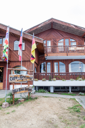 FRUTILLAR, CHILE - MARCH 1, 2015: German style restaurant in Frutillar village. The region is known for a strong population of german immigrants.