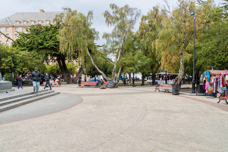 magallanes: PUNTA ARENAS, CHILE - MARCH 3, 2015: People at Plaza Munoz Gamero square in Punta Arenas, Chile.