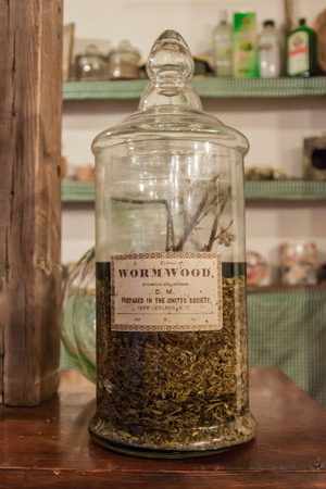 CHACRAS DE CORIA, ARGENTINA - AUG 1, 2015: Bottle of Artemisia absinthium extract (absinth) at A la Antigua shop in Chacras de Coria village, near Mendoza, Argentina
