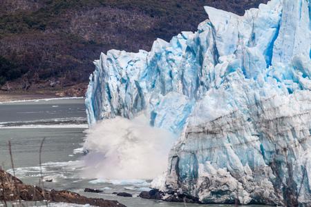 rupture: Ice falling from Perito Moreno glacier, Argentina Stock Photo