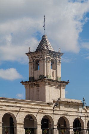 Tower of the former town council (cabildo) on Plaza 9 de Julio square in Salta, Argentina.