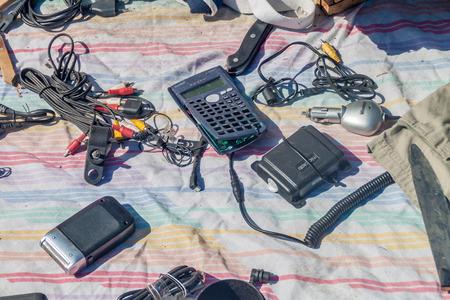 SANTIAGO, CHILE - MARCH 28, 2015: Old electronics at s street market in Bellavista neighborhood of Santiago, Chile Sajtókép
