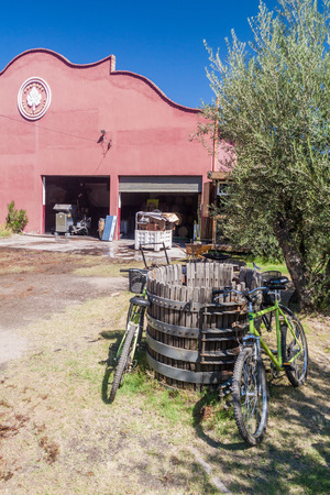 CHACRAS DE CORIA, ARGENTINA - AUG 1, 2015: Tourist bicycles at a winery in Chacras de Coria village, near Mendoza, Argentina