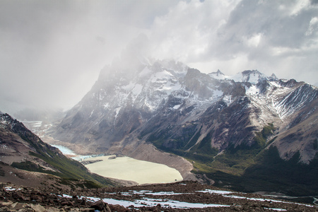 Mountains and Laguna Torre lake in National Park Los Glaciares, Argentina Stock Photo
