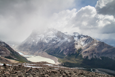 cerro chalten: Mountains and Laguna Torre lake in National Park Los Glaciares, Argentina Stock Photo