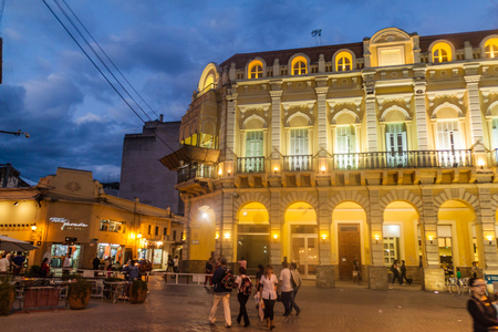 SALTA, ARGENTINA - APRIL 8, 2015: Night view of colonial buildings at Plaza 9 de Julio square in Salta.