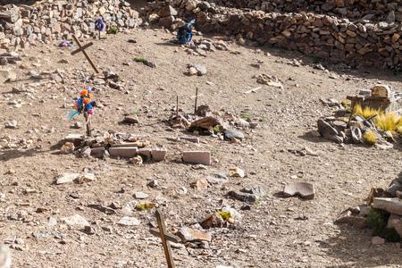 Cimitero dell'ex città mineraria Pueblo Fantasma, Bolivia sud-occidentale Archivio Fotografico
