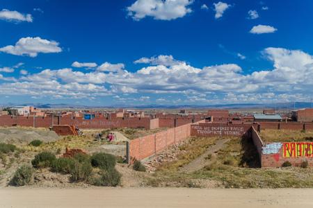bolivian: EL ALTO, BOLIVIA - MAY 11, 2015: View of suburbs of El Alto, Bolivia