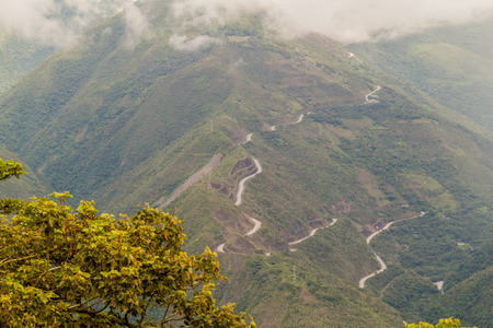 Winding road in Yungas mountains, Bolivia