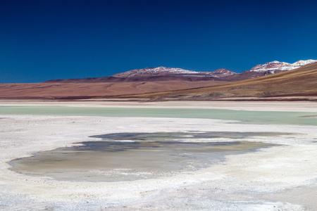 avaroa: Laguna Blanca lake in Reserva Nacional de Fauna Andina Eduardo Avaroa protected area, Bolivia
