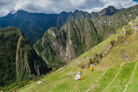 Former agricultural terraces at Machu Picchu ruins, Peru Stock Photo