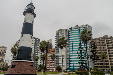 Lighthouse in Miraflores district of Lima, Peru Stock Photo