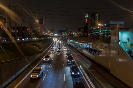 LIMA, PERU - JUNE 4, 2015: Metropolitano rapid transport bus system station on Paseo de la Republica road.