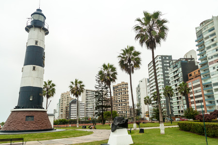 LIMA, PERU - JUNE 4, 2015: Lighthouse in Miraflores district of Lima