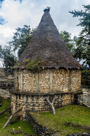 Reconstruction of an ancient house at Kuelap ruins, northern Peru