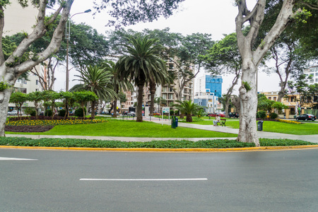 miraflores: LIMA, PERU - JUNE 4, 2015: Small park in Miraflores district of Lima