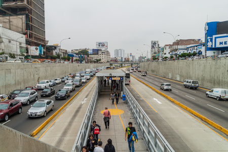 LIMA, PERU - JUNE 4, 2015: Metropolitano rapid transport bus system station on Paseo de la Republica road.