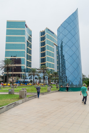 LIMA, PERU - JUNE 4, 2015: Modern glass buildings in Miraflores district of Lima