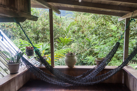 MINDO, ECUADOR - JUNE 27, 2015: Hammocks in La Casa de Cecilia hostel in Mindo village.