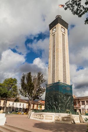 LOJA, ECUADOR - JUNE 15, 2015: Clock tower at Plaza de la Independencia square in Loja, Ecuador